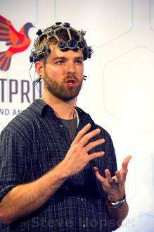 Conor Russomanno speaking at the Bodyhacking Con, Austin, Texas, February 20, 2016. Conor Russomanno is the co-founder & CEO of OpenBCI, a company dedicated to open-source innovation of human-computer interfaces technologies.