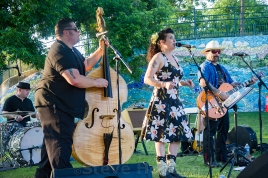 Ruby Dee and the Snakehandlers performing at Deep Eddy Pool's 100th Anniversary Party, Austin, Texas, May 21, 2016.