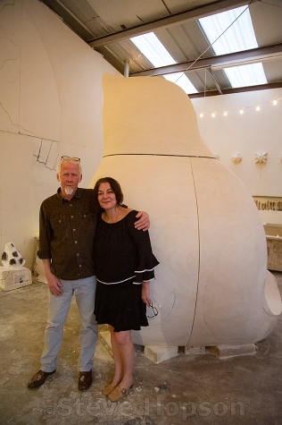 Joseph and Holly Kincannon of Kincannon Studios in front of their sculpture, Blackbird. Blackbird is a commission piece for Austin's Art in Public Places Program and will be installed in Republic Square.